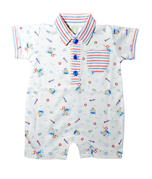 Baby Threads Nautical bear print baby boy romper