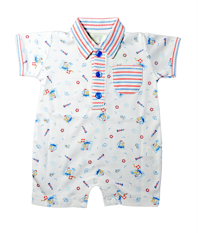 Baby Threads Nautical bear print baby boy romper - Little Threads Inc. Children's Clothing