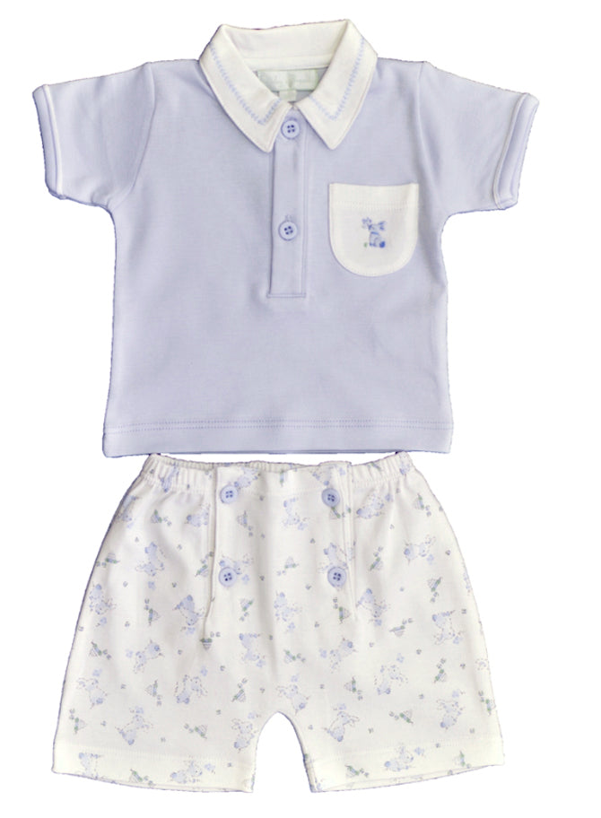 Baby Boy's Blue Bunny Print Shorts Set - Little Threads Inc. Children's Clothing