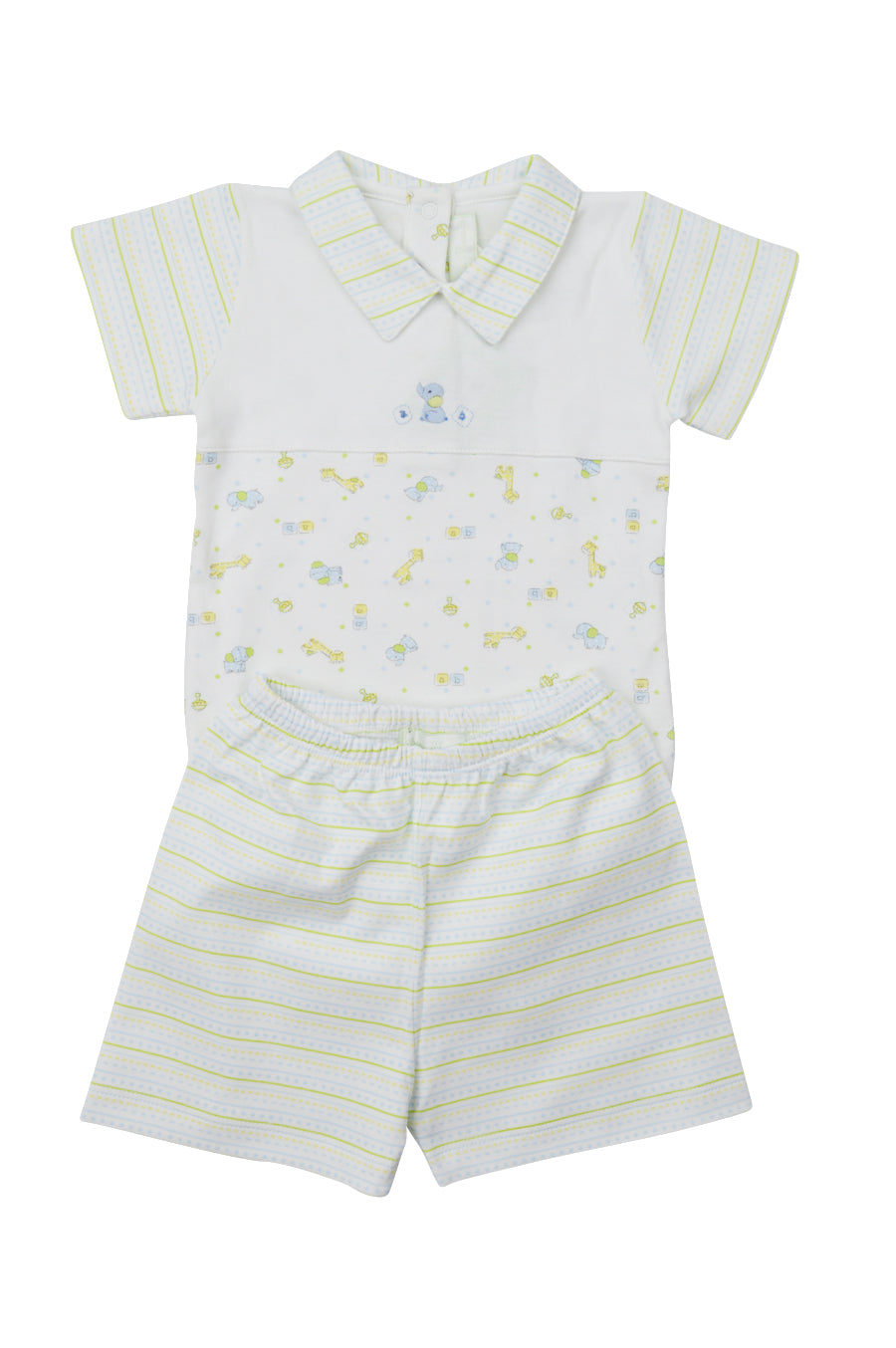 Little Threads Giraffe And Elephant Baby Threads Pima Cotton Baby Boy's Romper - Little Threads Inc. Children's Clothing