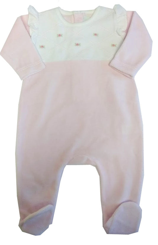 Pink Diamonds Velour baby girl Footie - Little Threads Inc. Children's Clothing