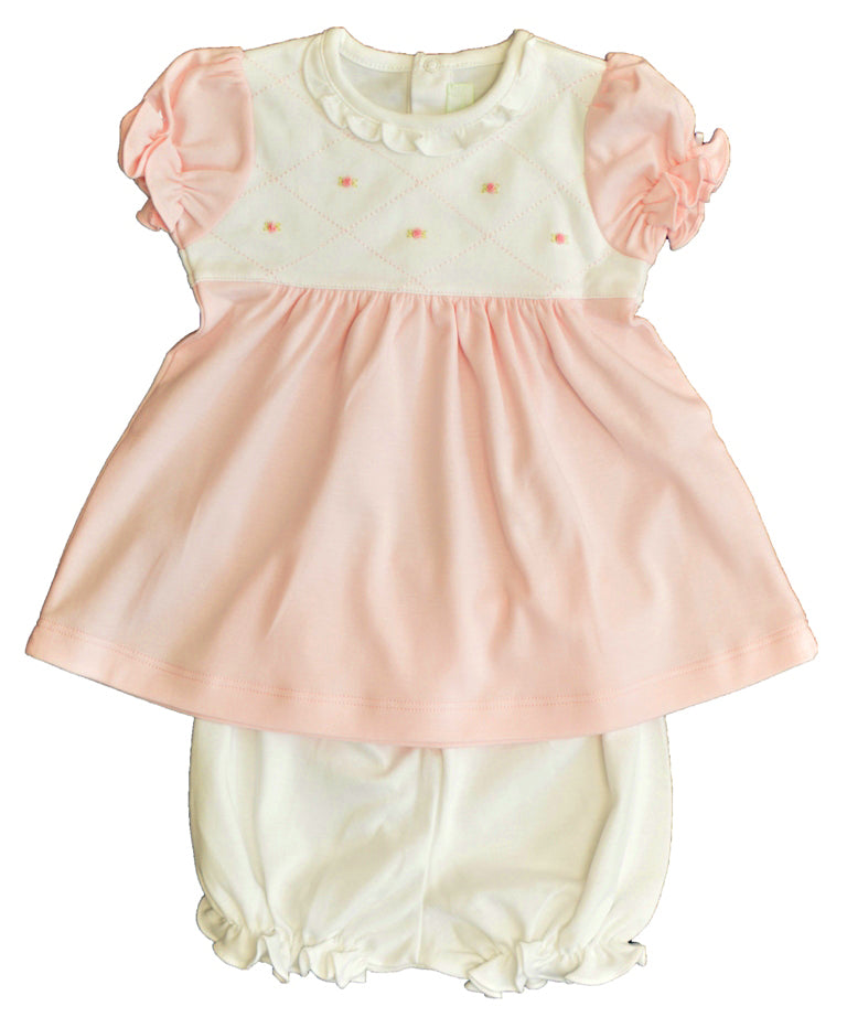 Diamond Roses Pink Pima Cotton Baby Dress