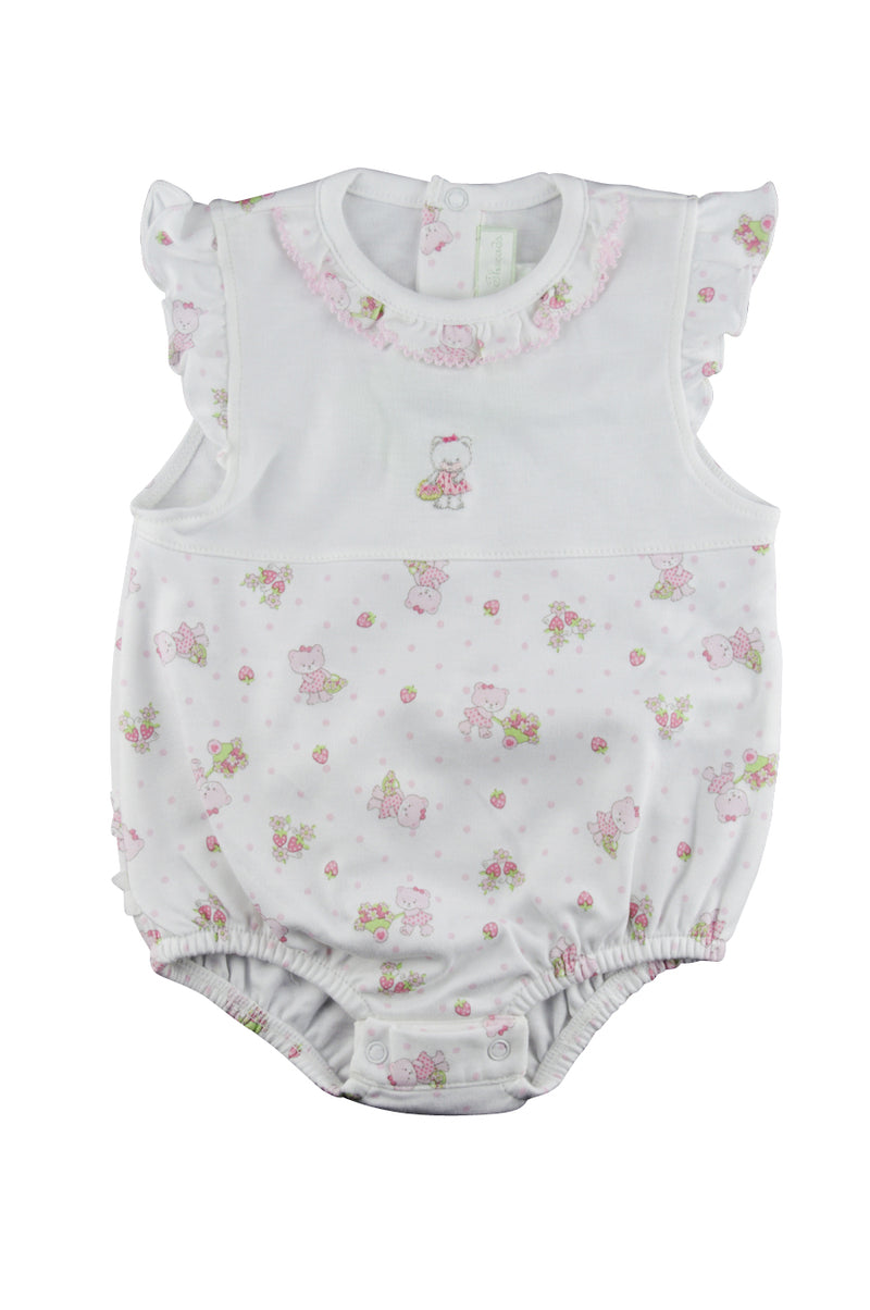Bear and Strawberry Print Onesie with Ruffle Collar - Little Threads Inc. Children's Clothing