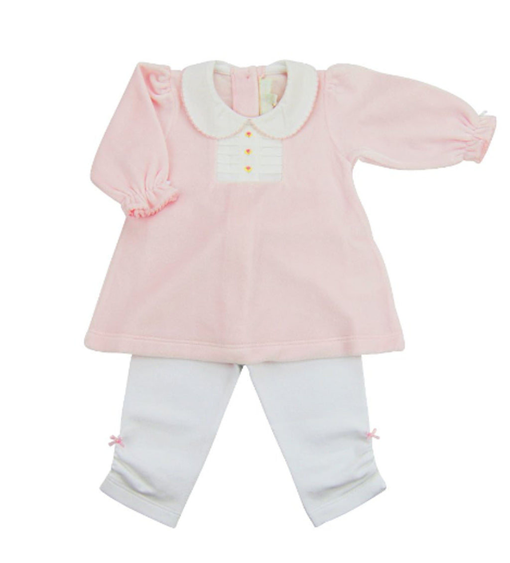 Baby Girl's Pink Rosita Velour 2 piece legging Set - Little Threads Inc. Children's Clothing