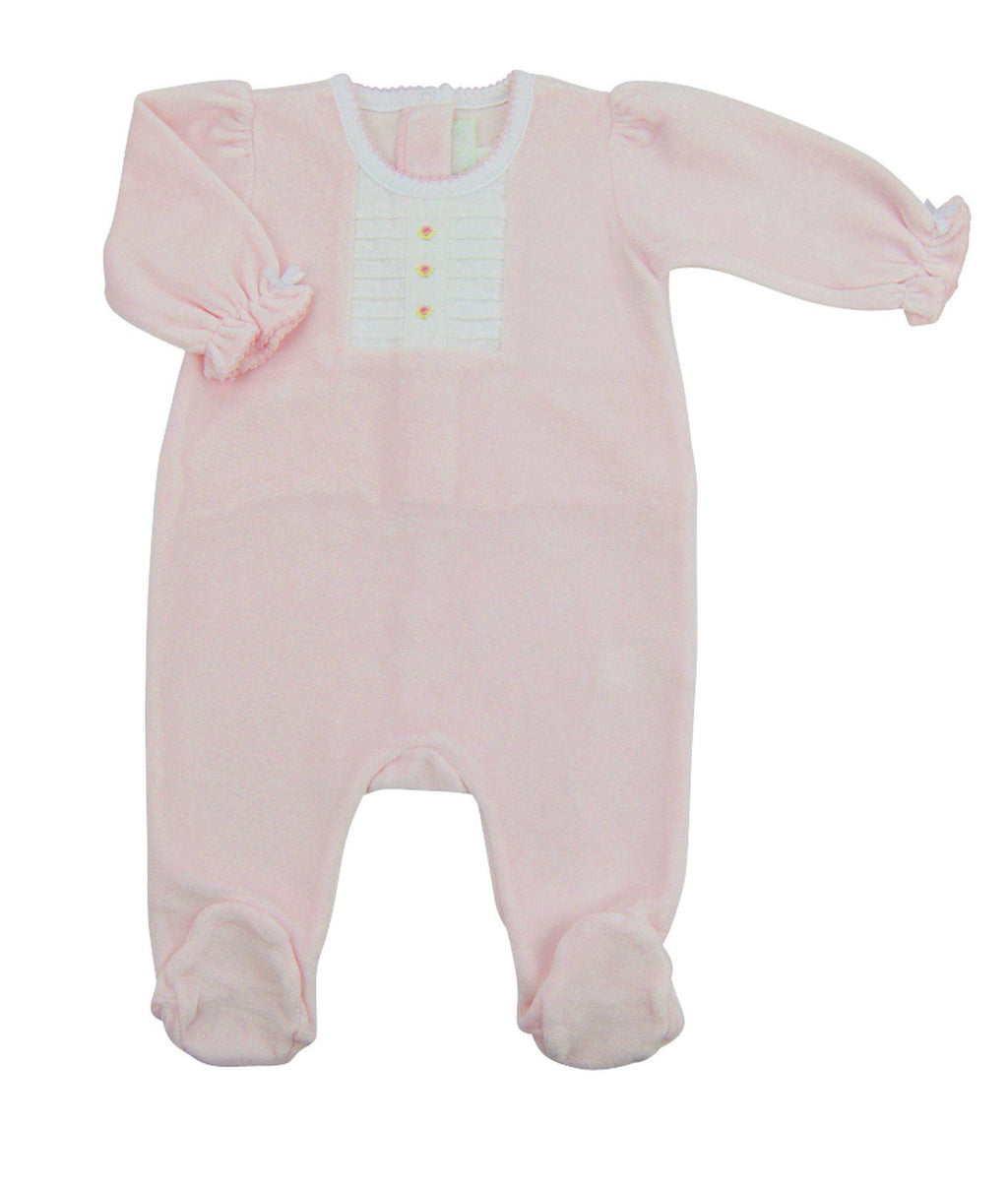 Pink Rosita Velour Footie - Little Threads Inc. Children's Clothing