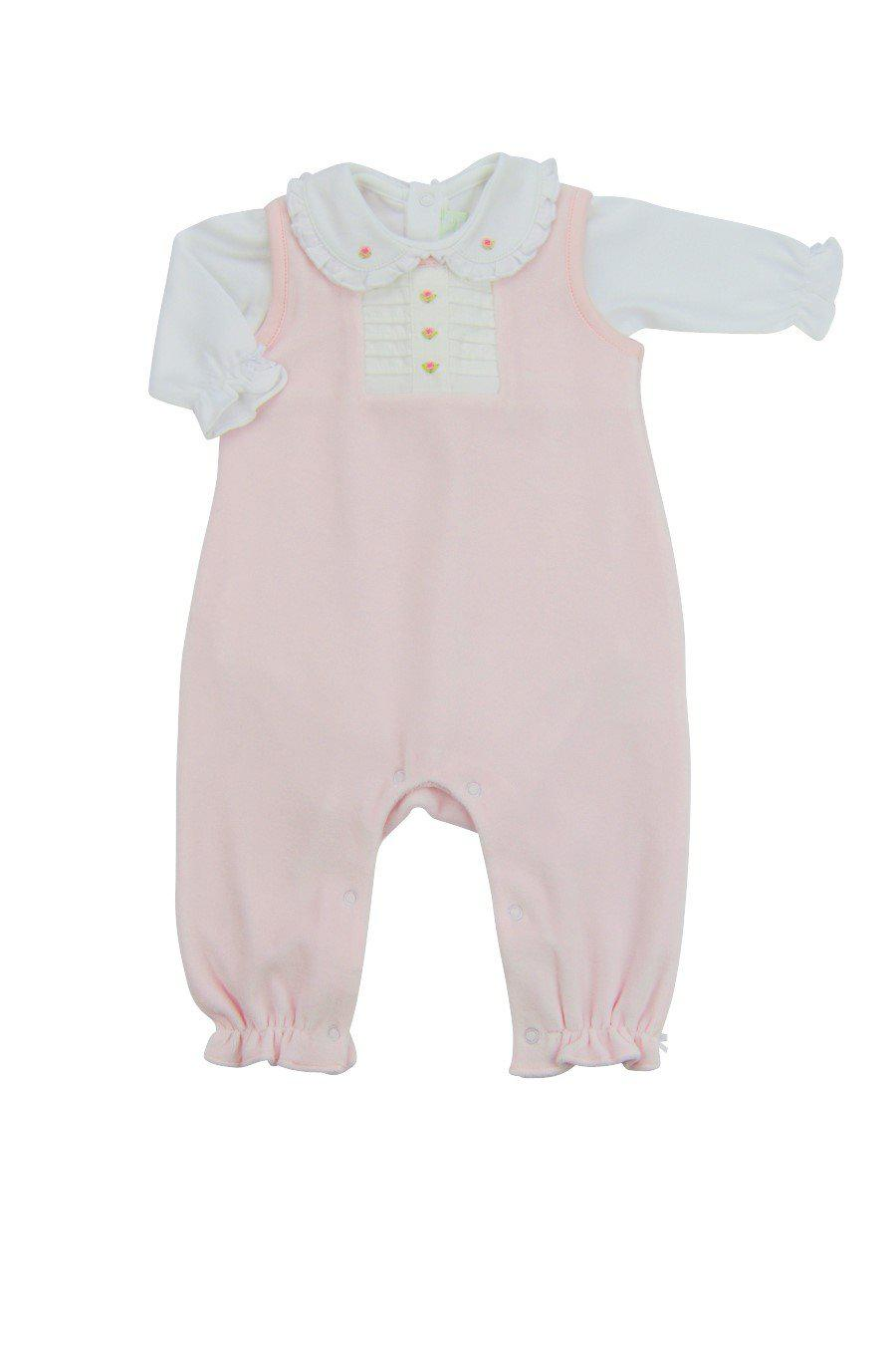 Pink Rosita Velour Overall Set - Little Threads Inc. Children's Clothing