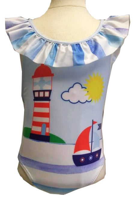 Sailboat and Lighthouse ruffle girls bathing suit
