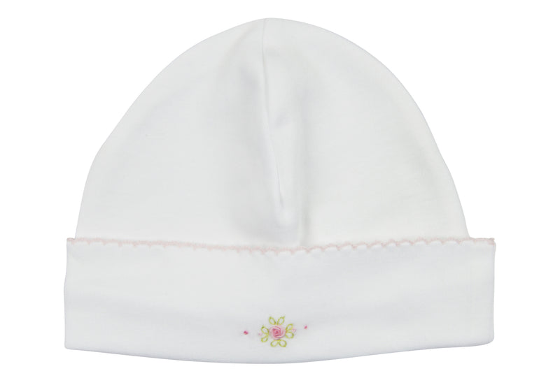 Baby Girl Hat with Rosebud Embroidered - Little Threads Inc. Children's Clothing