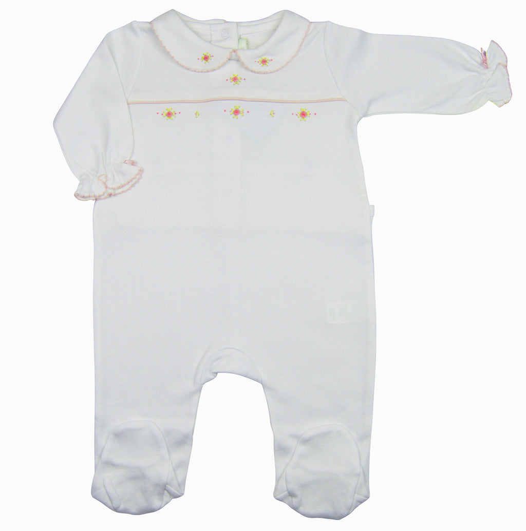 Karina Hand embroidered white pima cotton baby girl's footie - Little Threads Inc. Children's Clothing