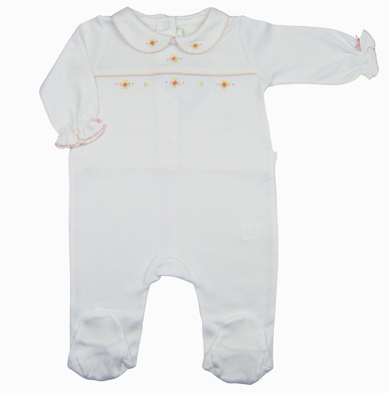 Karina Hand embroidered white pima cotton baby girl's footie