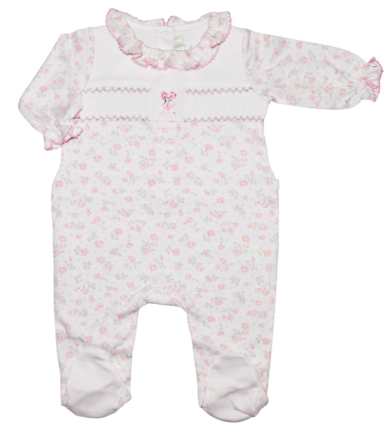 Olivia hand smocked Pima cotton baby girl footie - Little Threads Inc. Children's Clothing