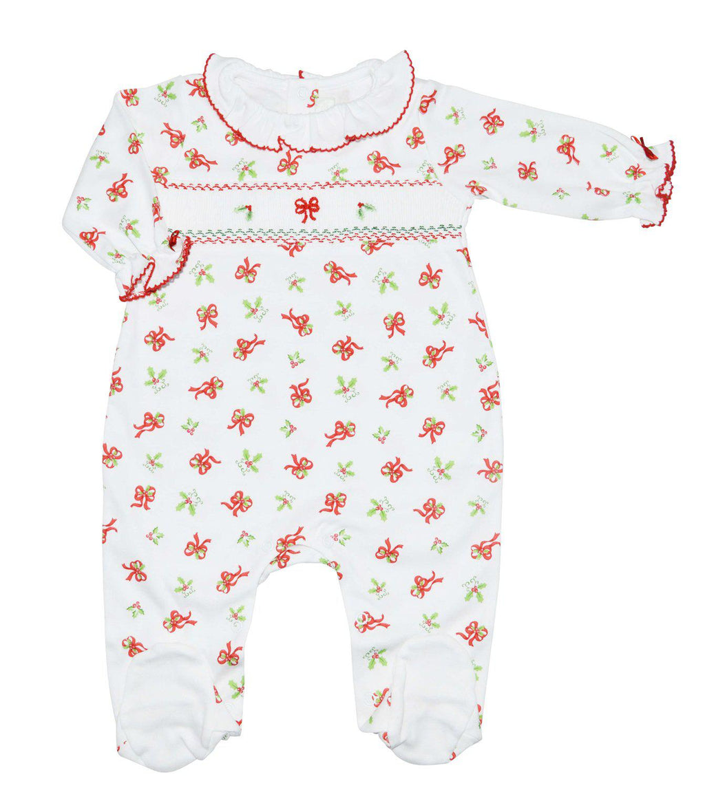 Christmas Bows Pima cotton Smocked Footie - Little Threads Inc. Children's Clothing