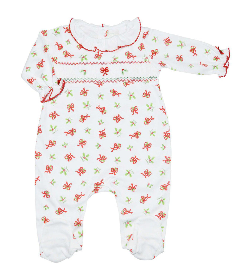 Christmas Bows Pima cotton Smocked Footie