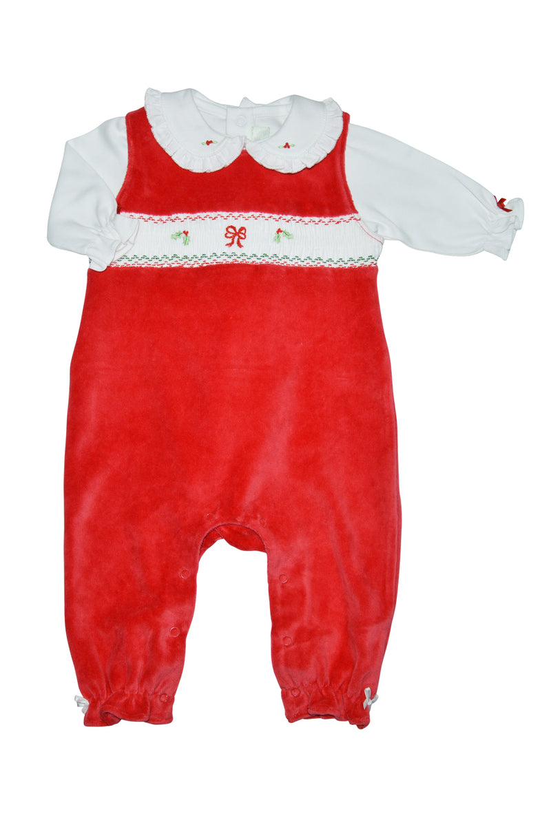 Christmas Bow Red Velour Hand Smocked Overall Set - Little Threads Inc. Children's Clothing