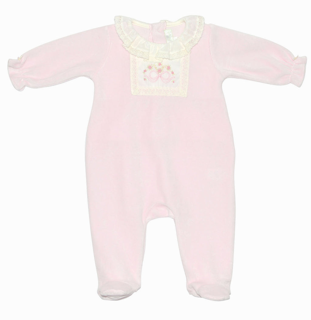 Bow velour baby girls footie - Little Threads Inc. Children's Clothing