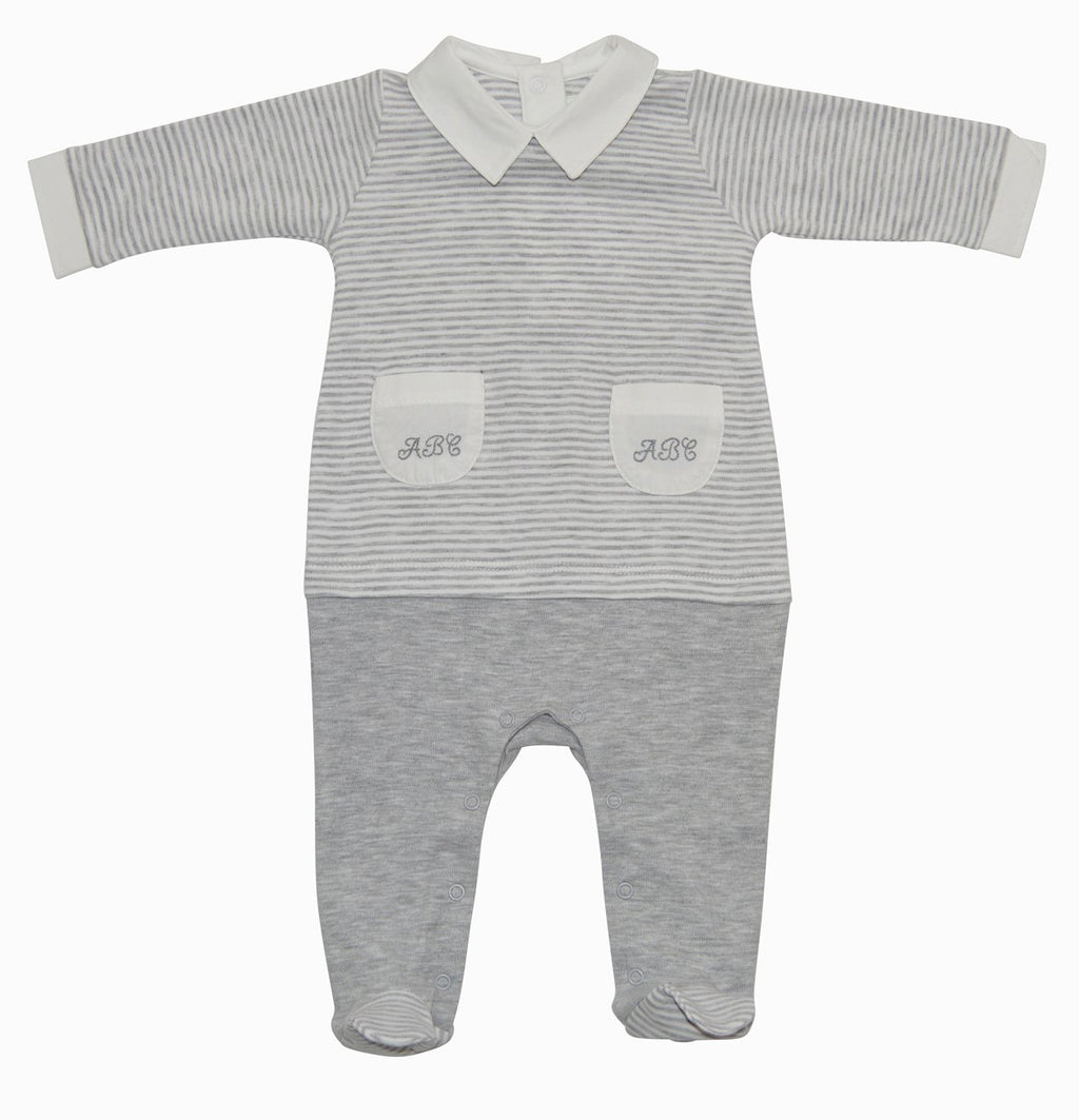 Andrew Heather Grey Pima cotton ABC footie - Little Threads Inc. Children's Clothing