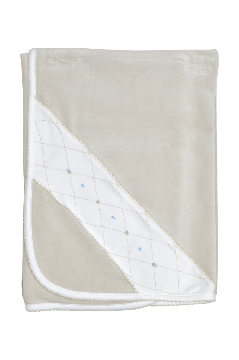 Jo and Joan Pearl Grey Velour Boy's Blanket - Little Threads Inc. Children's Clothing