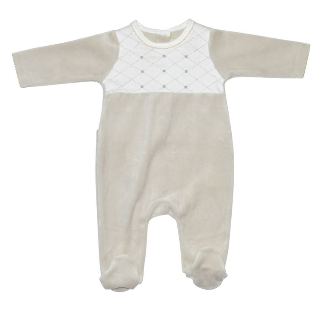 Taupe Velour Boy's Footie - Little Threads Inc. Children's Clothing