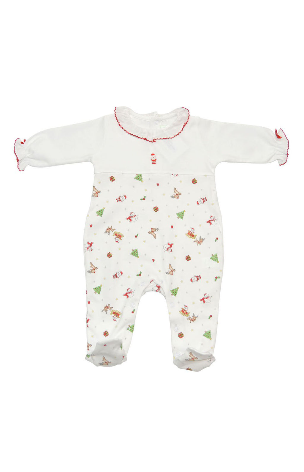 Baby Girl's Christmas Print Footie