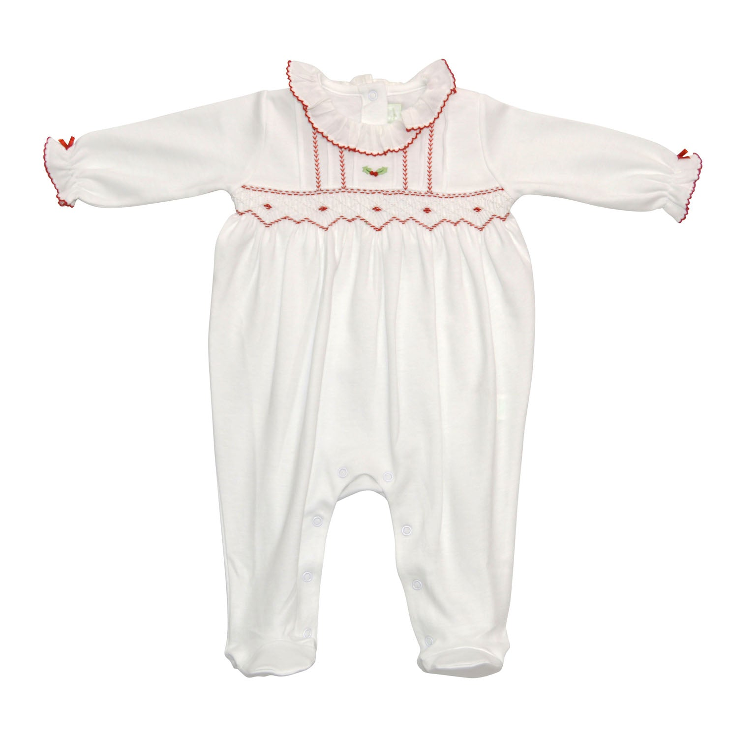 Christmas hand smocked footie