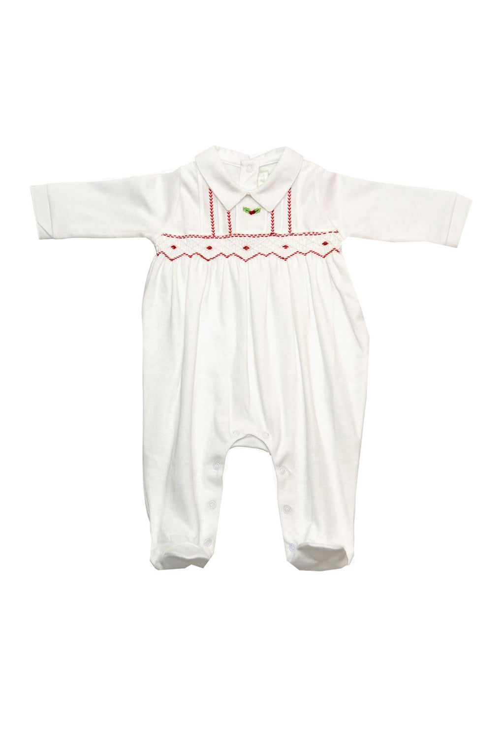 White Christmas Pima cotton baby boy footie - Little Threads Inc. Children's Clothing