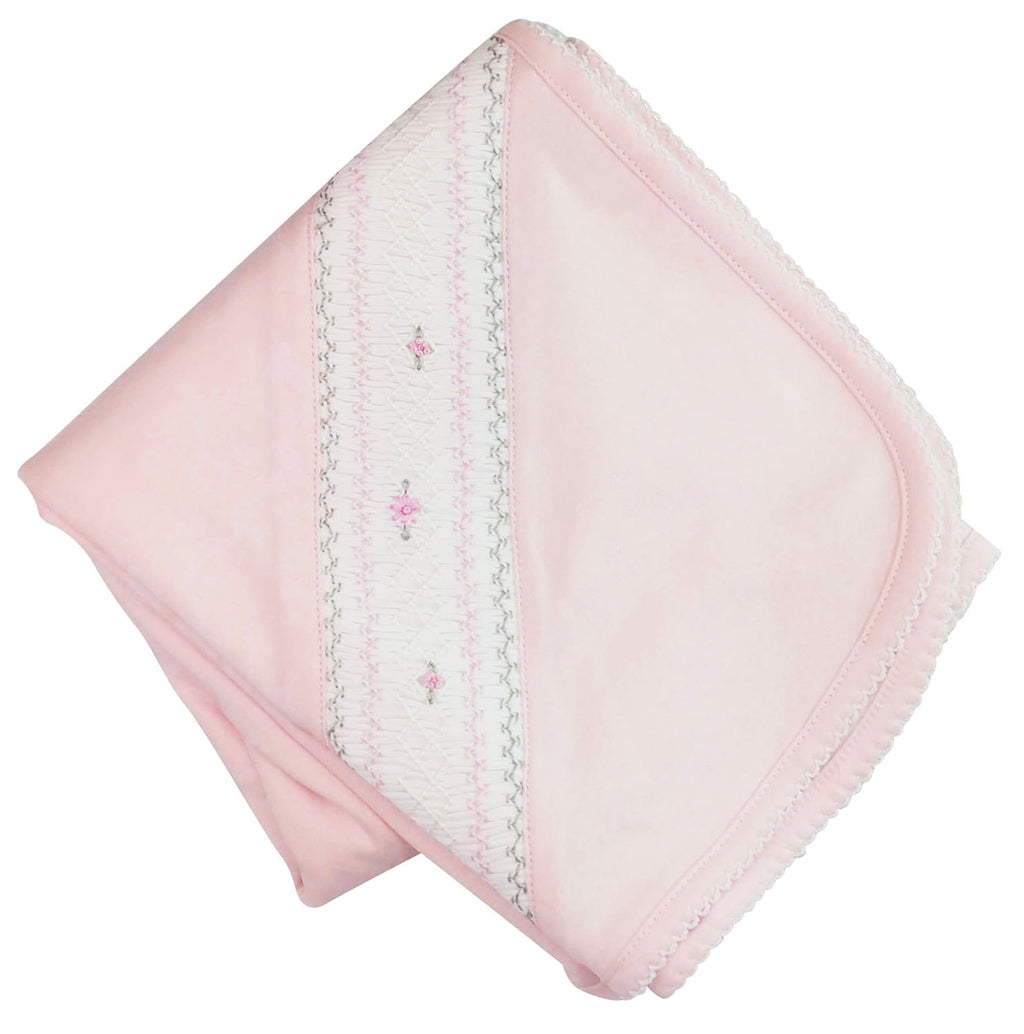 Pink Pima cotton Hand smocked baby girl blanket