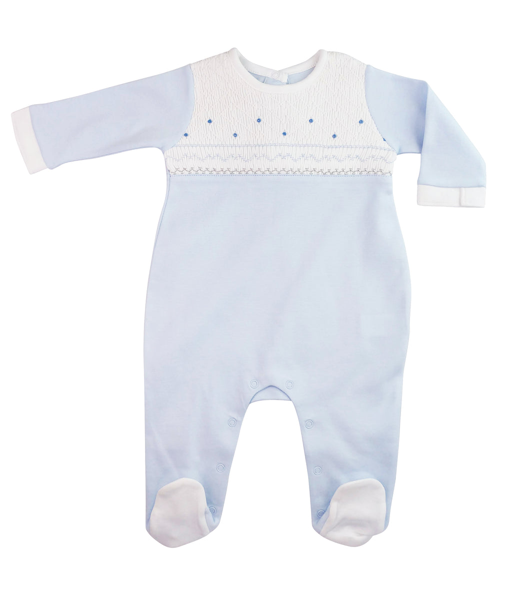 Baby Boy's Blue Smocked Footie - Little Threads Inc. Children's Clothing