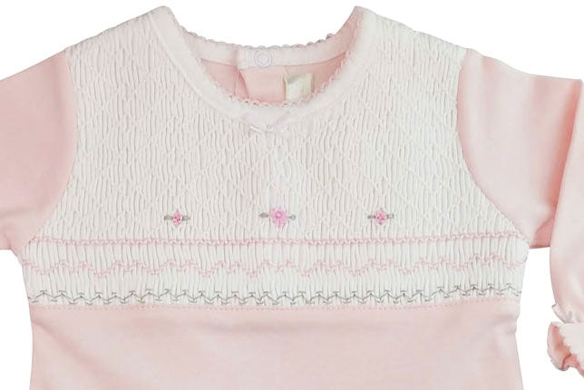 Full  Smocked baby girl Pima cotton footie - Little Threads Inc. Children's Clothing