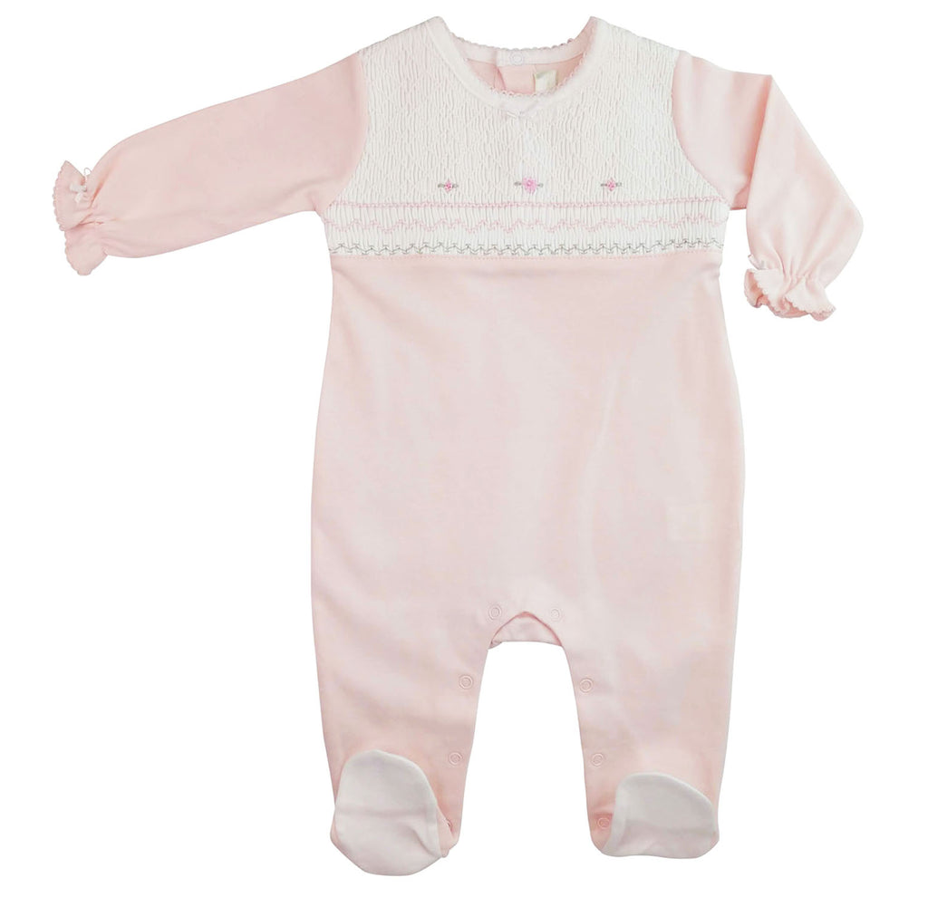 Full  Smocked baby girl Pima cotton footie