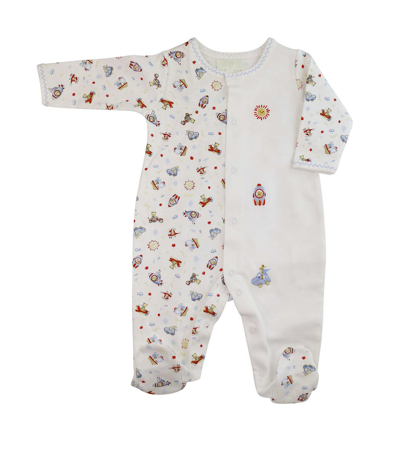 Baby Boy's Animals On The Go Print Footie - Little Threads Inc. Children's Clothing