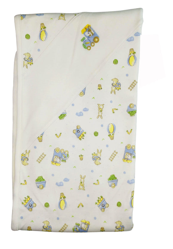 Bunnies print baby boy blanket