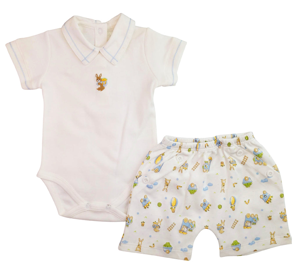 Baby boy bunnies print onesie and diaper cover