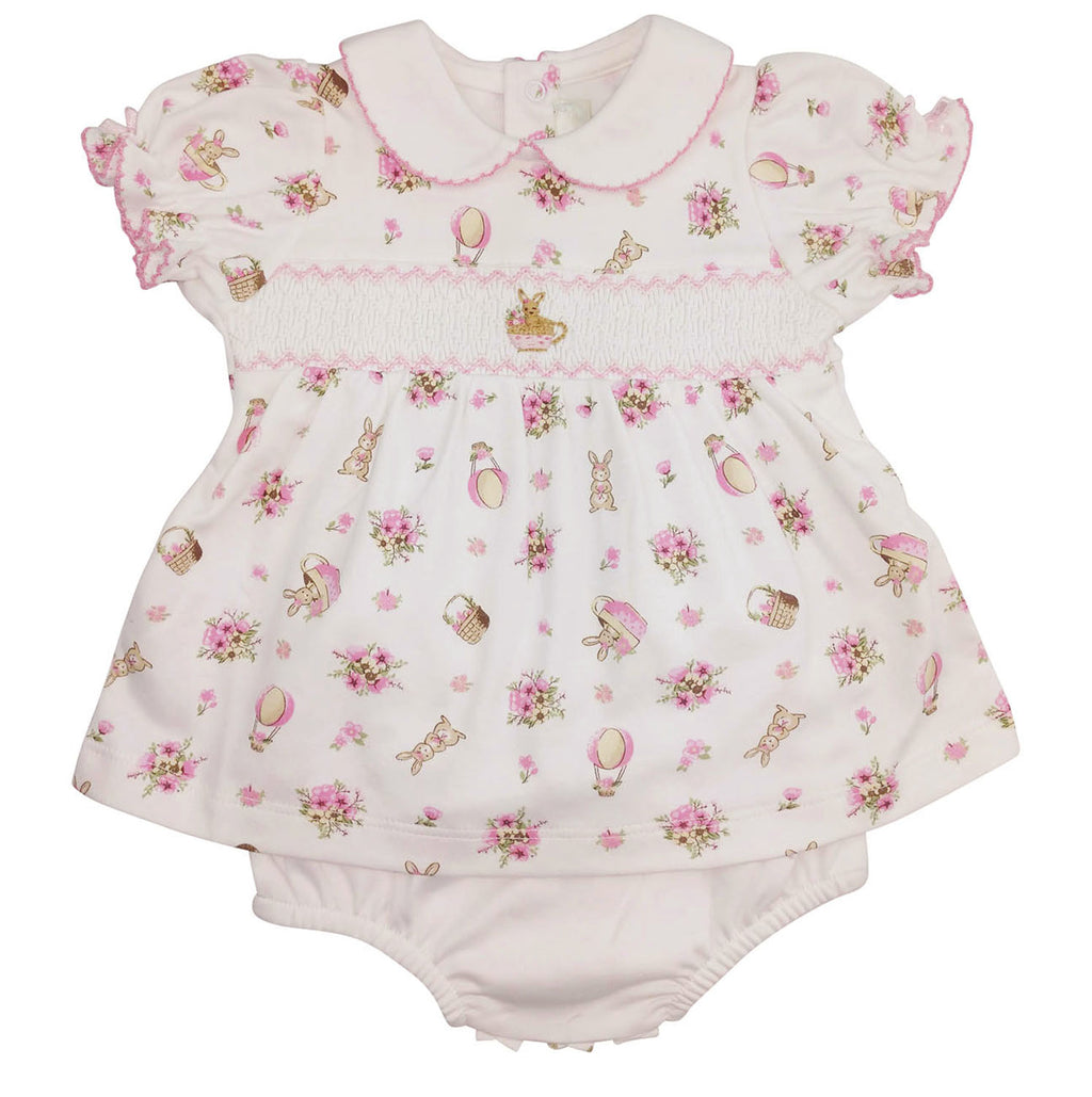 Baby Girl's Pink Floral Bunny Dress - Little Threads Inc. Children's Clothing