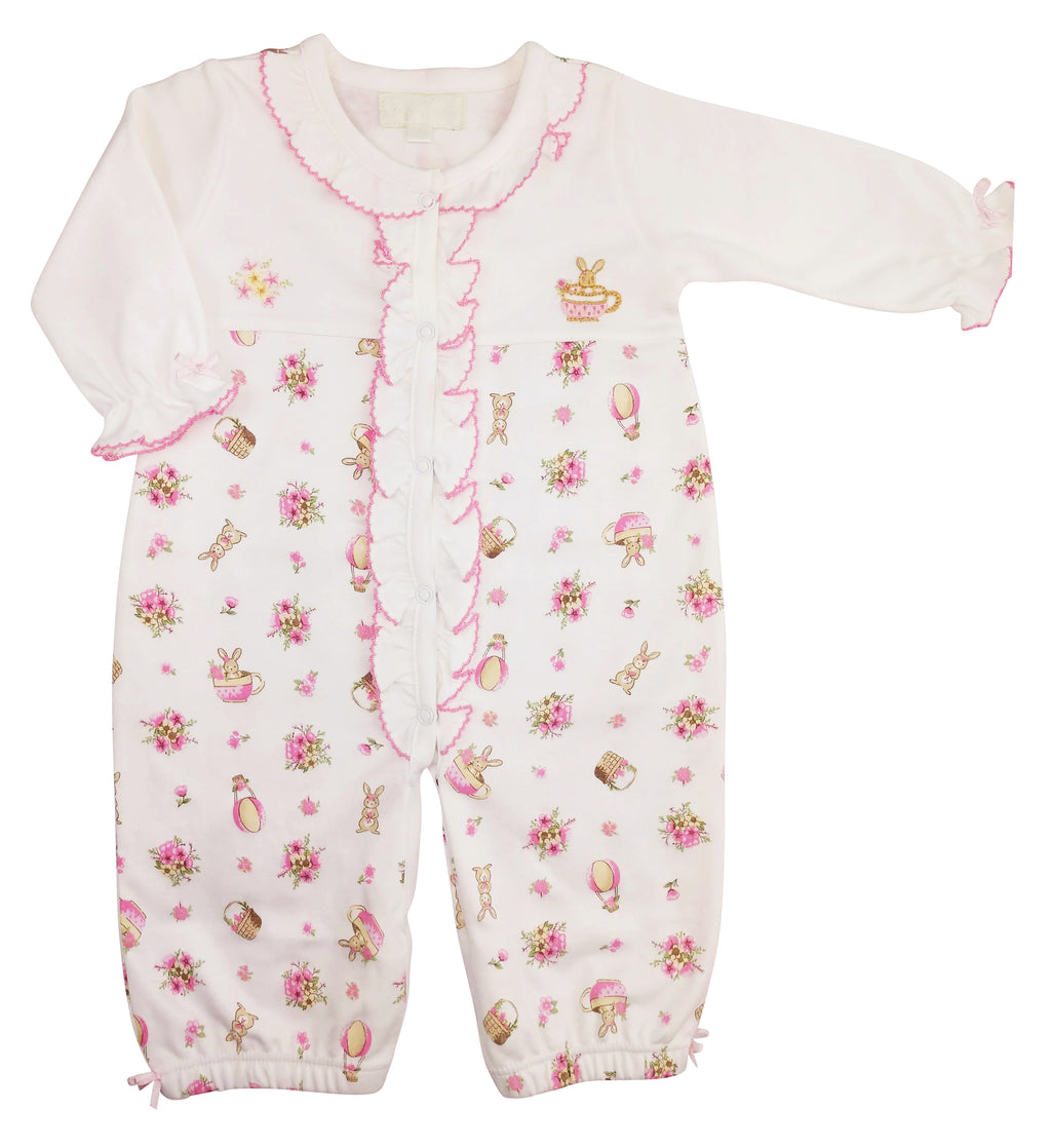 Bunny print Baby girl converter Gown
