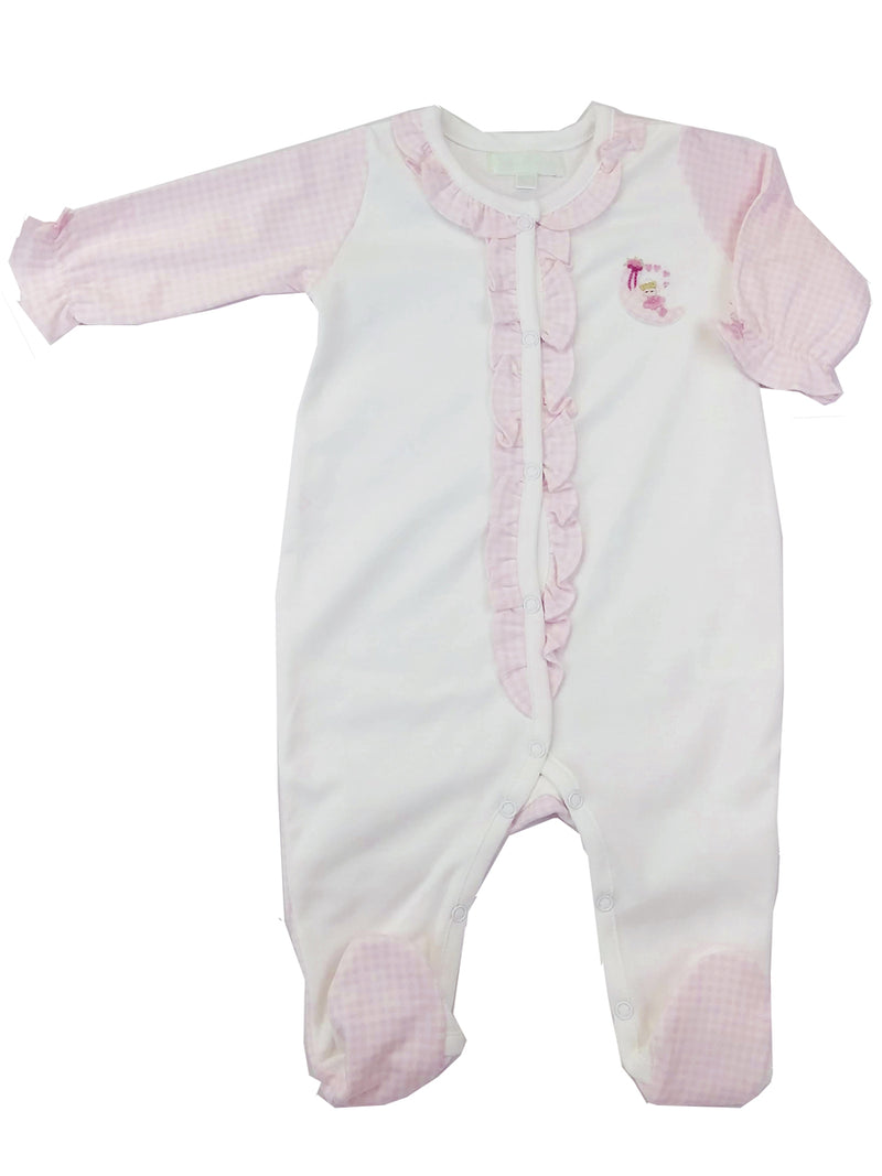Baby Girl Footie Girl On The Moon - Little Threads Inc. Children's Clothing