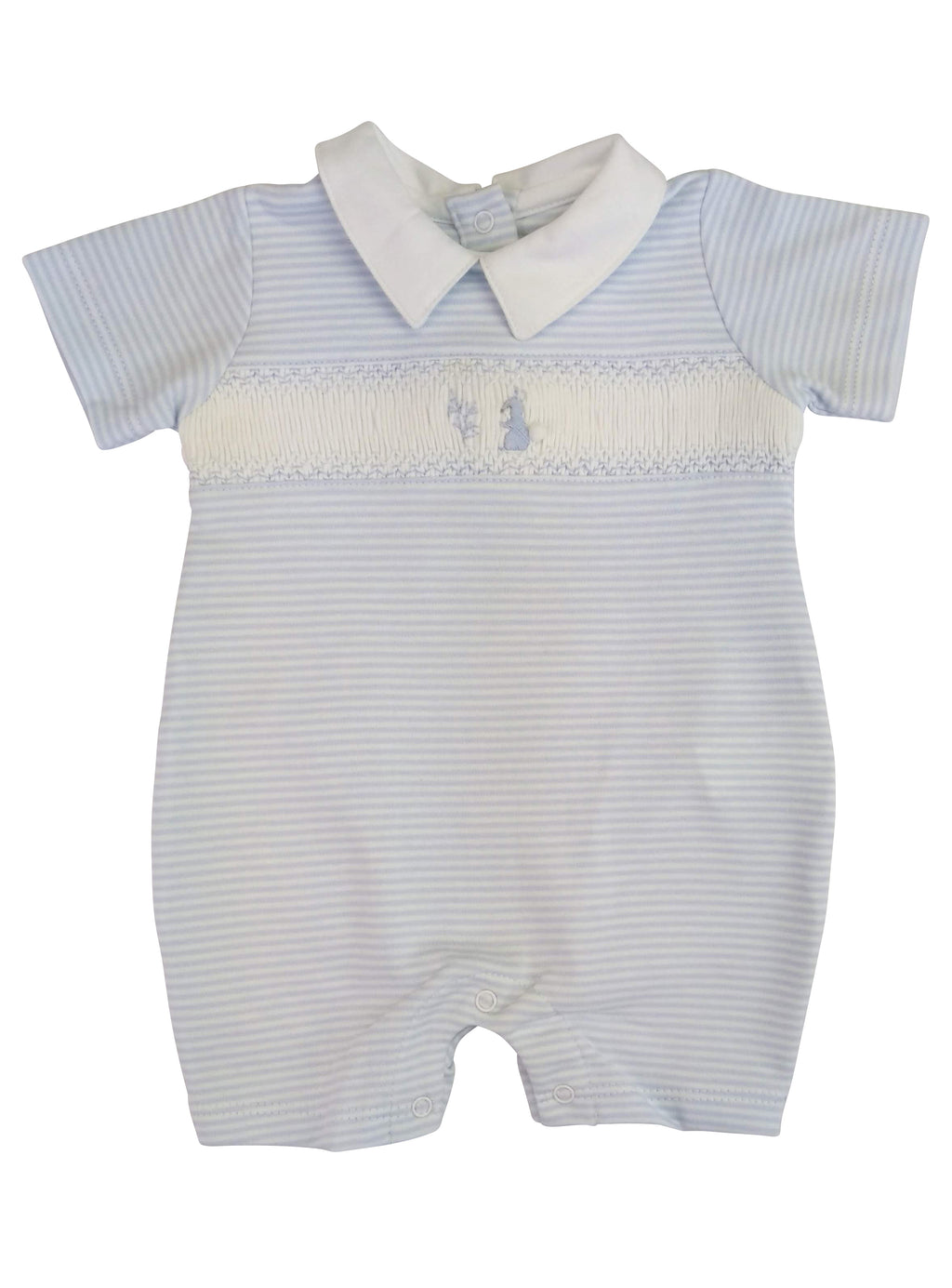 Baby Boy's Blue Smocked Bunny Romper - Little Threads Inc. Children's Clothing
