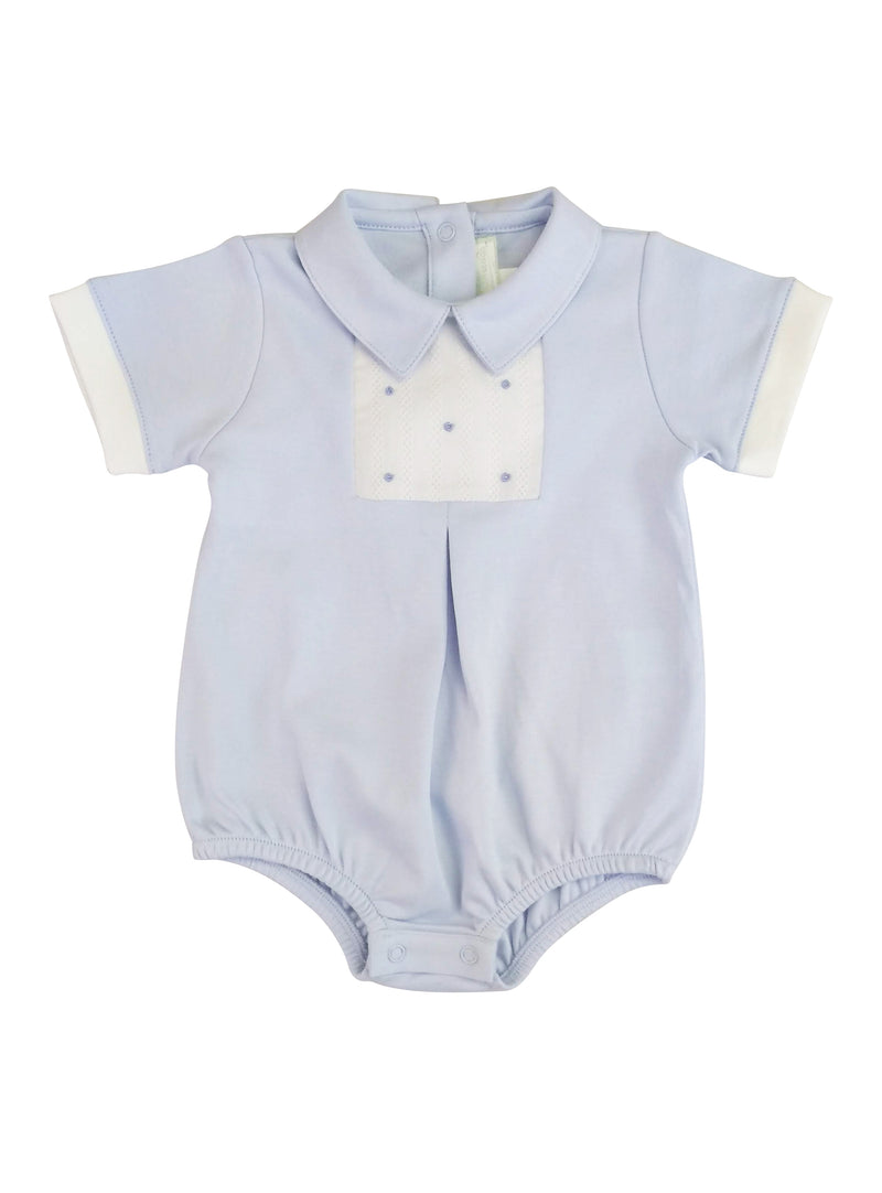 Baby Boy's Blue Dots Hand Smocked Romper - Little Threads Inc. Children's Clothing