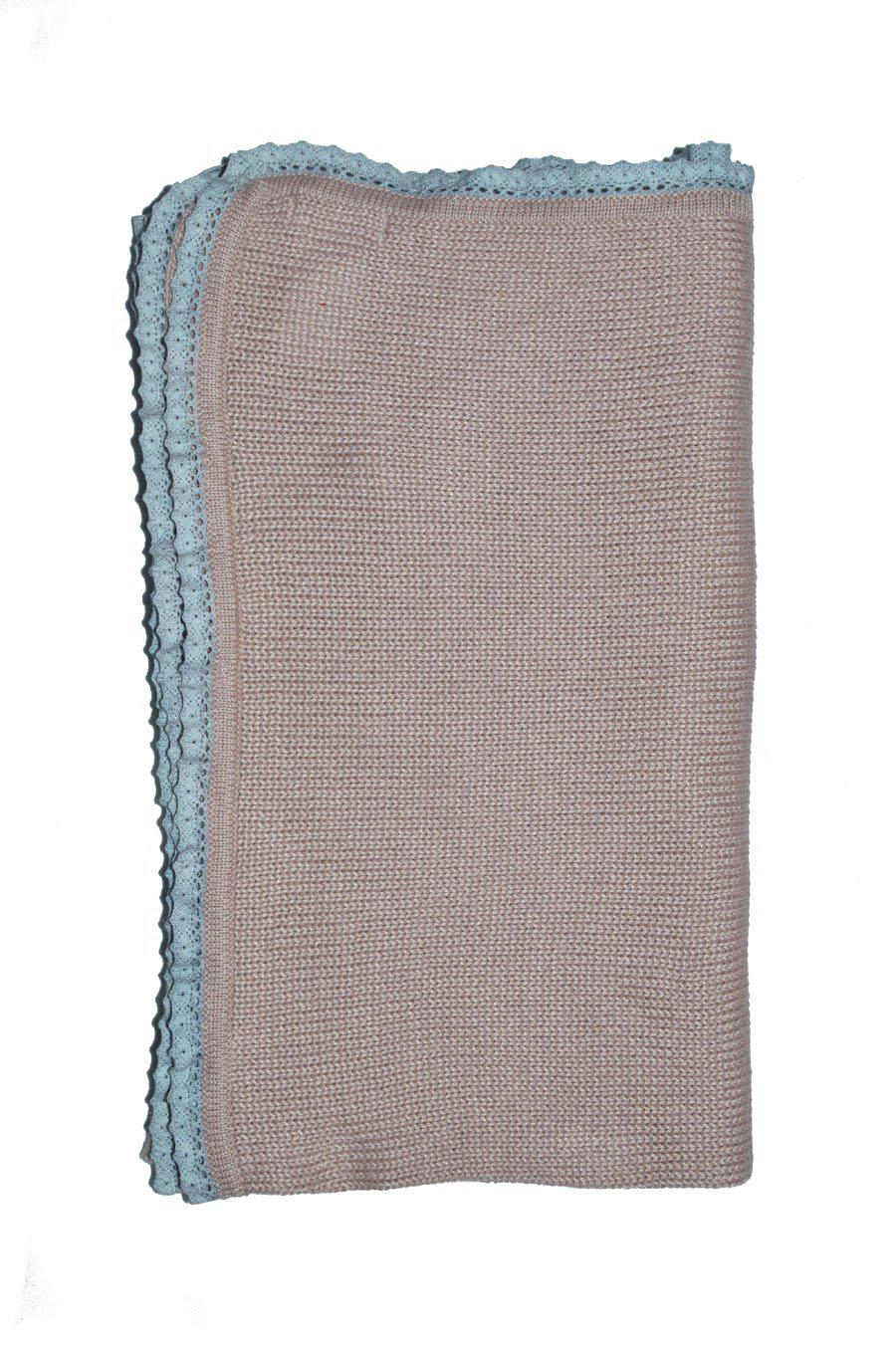 Dusty Pink Baby Alpaca Blanket with Grey Trim - Little Threads Inc. Children's Clothing