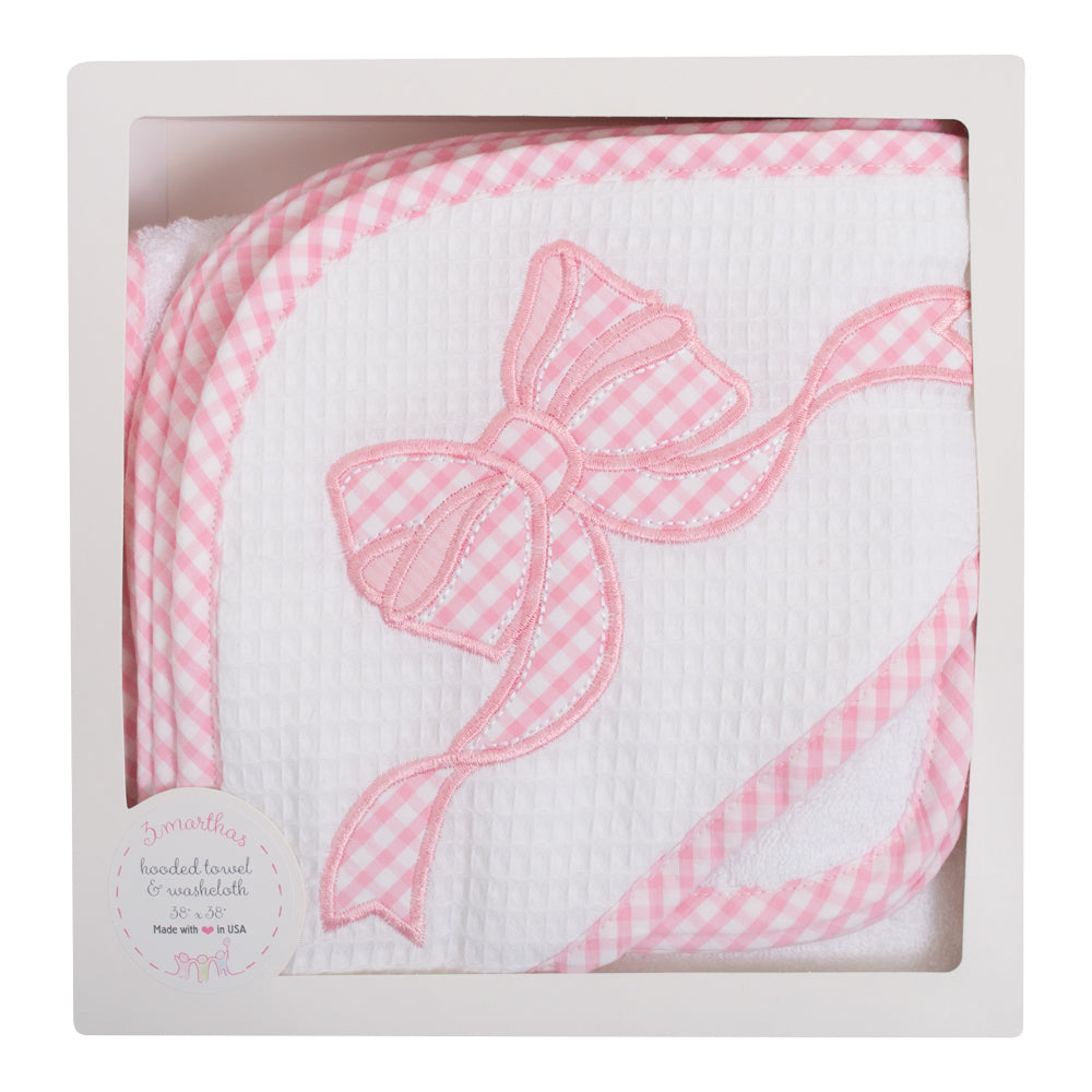 Pink Bow  wash cloth baby hooded towel set - Little Threads Inc. Children's Clothing