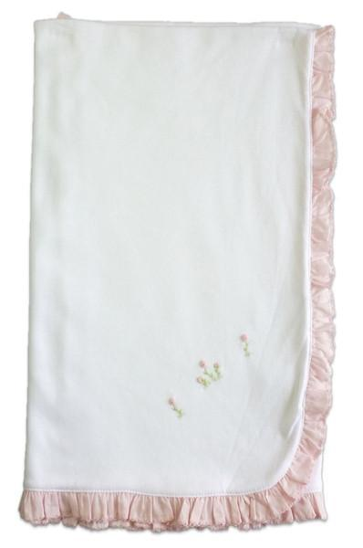 Rose White Blanket with Pink Ruffle - Little Threads Inc. Children's Clothing