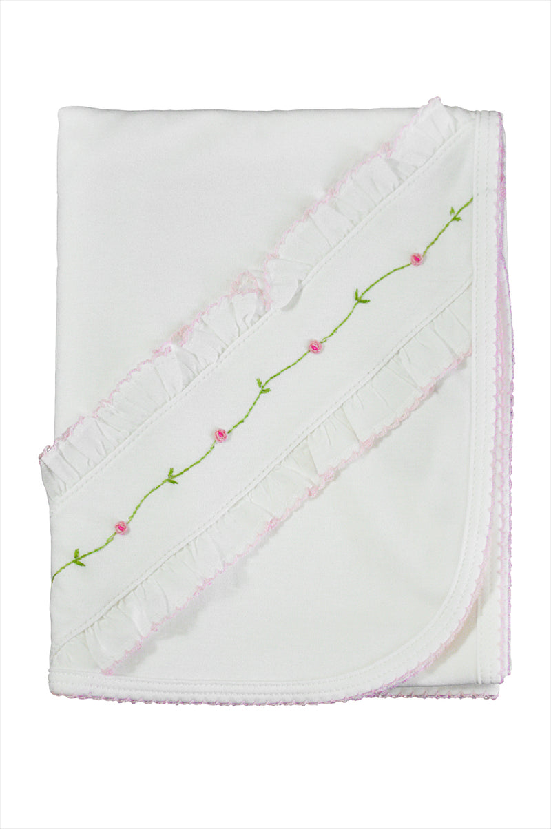 Baby Girl's White Rose Vine Blanket - Little Threads Inc. Children's Clothing