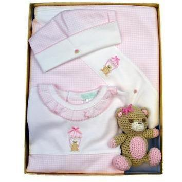 Bear Girl's Gift Set with Rattle - Little Threads Inc. Children's Clothing