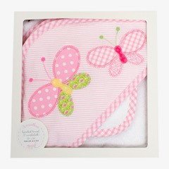 Butterflies aplique  wash cloth baby hooded towel set - Little Threads Inc. Children's Clothing