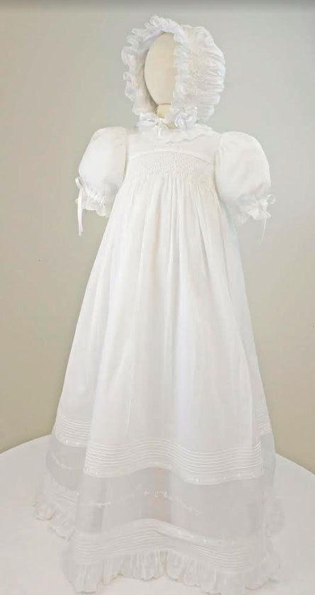 Marco & Lizzy Swiss batiste Hand Smocked Christening gown 6 months