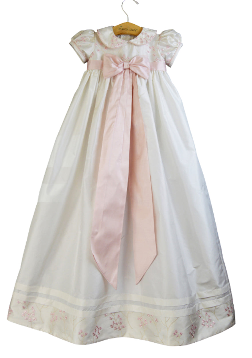 Marco & Lizzy  Pink and White embroidered silk Christening gown