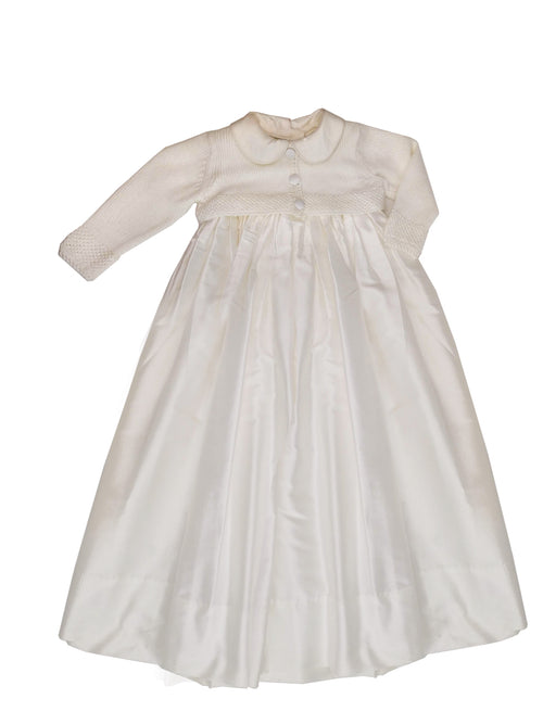 Off white knitted top Bris or Christening gown for a baby boy