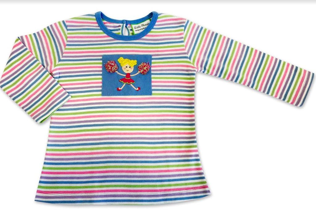 Cheerleader Cotton Knit Girl's Shirt - Little Threads Inc. Children's Clothing