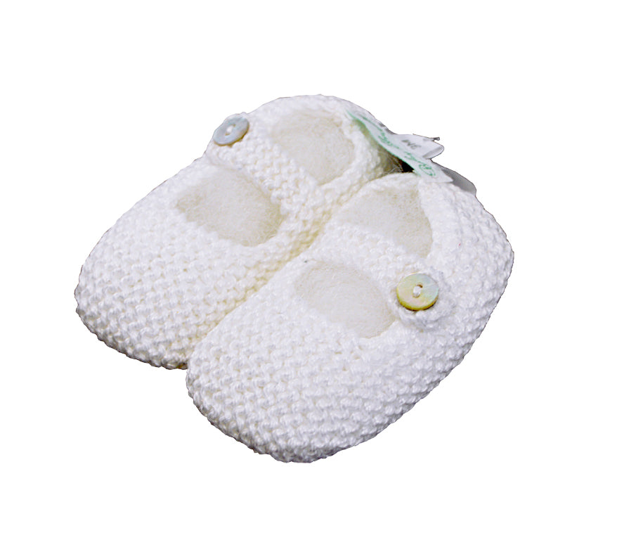 Mercerized White  Cotton Mary Jane knitted baby shoes