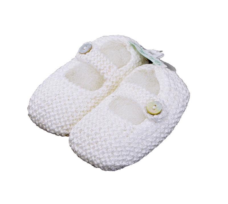 Mercerized White  Cotton Mary Jane knitted baby shoes - Little Threads Inc. Children's Clothing