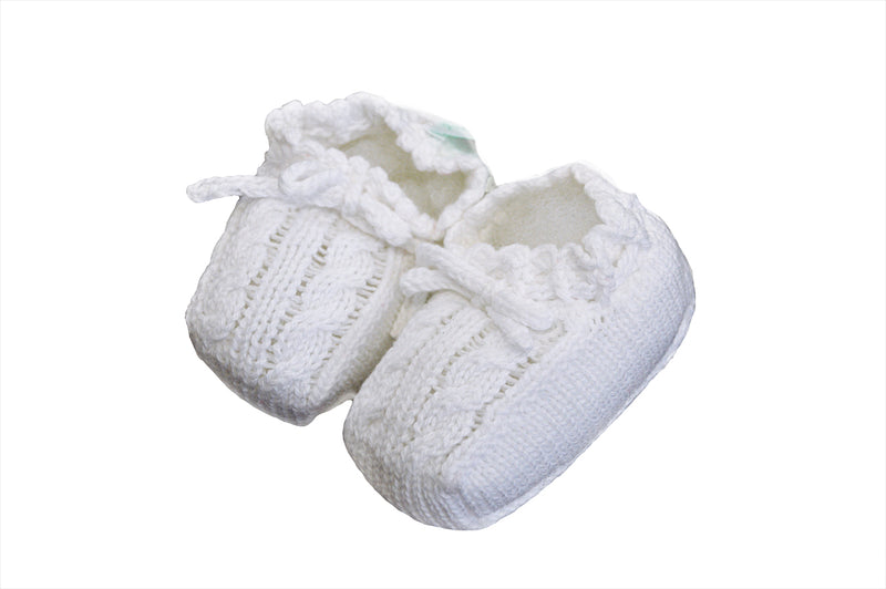 Unisex White Knit Booties with Bow - Little Threads Inc. Children's Clothing
